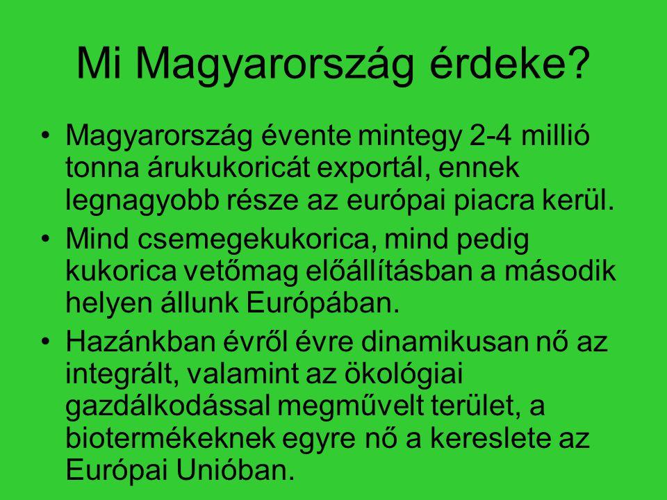 Mi Magyarország érdeke? •Magyarország évente mintegy 2-4 millió tonna árukukoricát exportál, ennek legnagyobb része az európai piacra kerül. •Mind cse