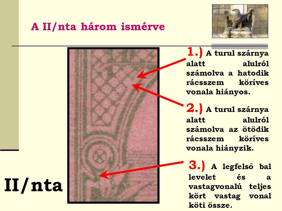 A II/nta három ismérve II/nta 1.) A turul szárnya alatt alulról számolva a hatodik rácsszem köríves vonala hiányos.
