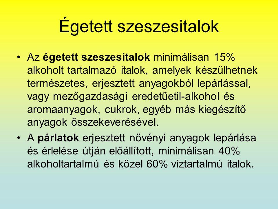 Égetett szeszesitalok •Az égetett szeszesitalok minimálisan 15% alkoholt tartalmazó italok, amelyek készülhetnek természetes, erjesztett anyagokból le