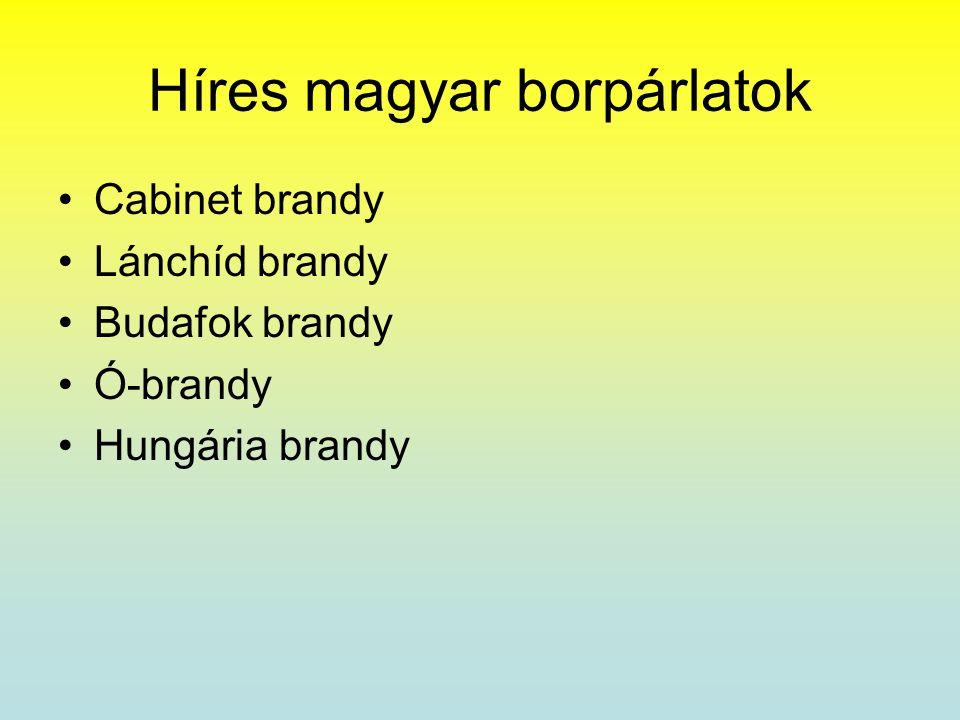 Híres magyar borpárlatok •Cabinet brandy •Lánchíd brandy •Budafok brandy •Ó-brandy •Hungária brandy