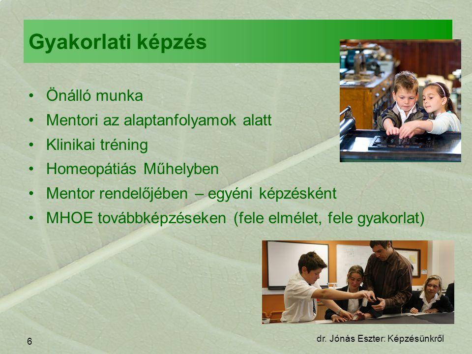 7 dr. Jónás Eszter: Képzésünkről Vizsgák •MHOE Bizonyítvány •MHOE Diploma •ECH Diploma