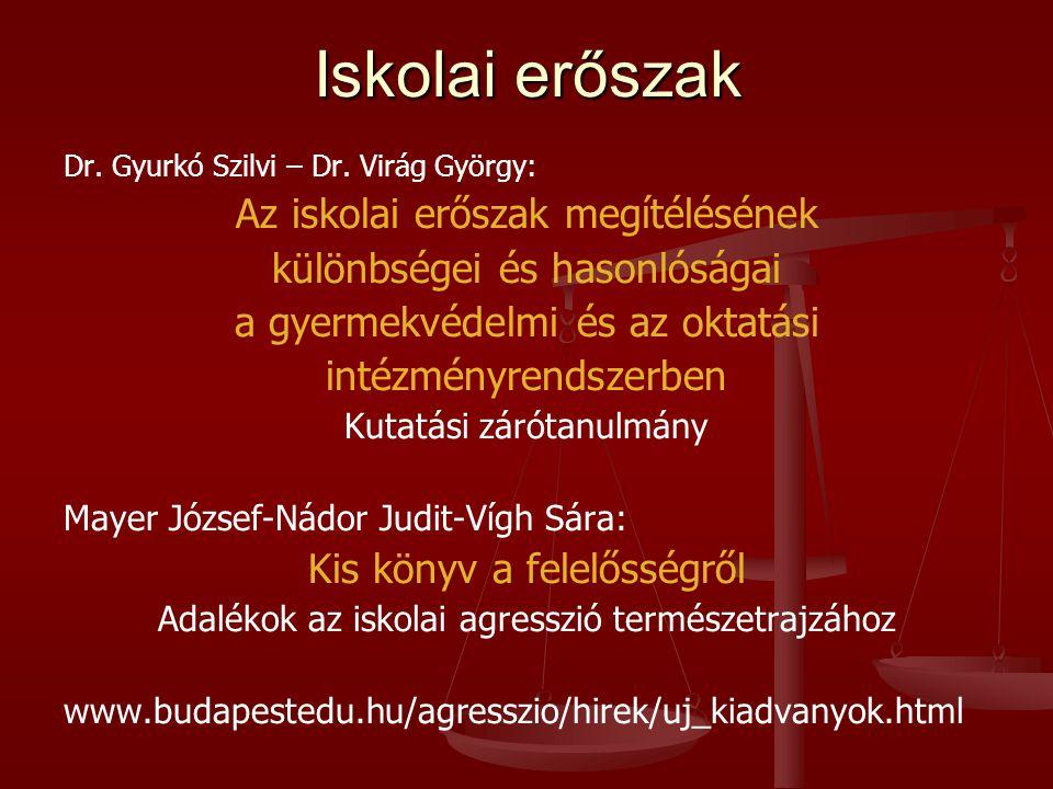 Iskolai erőszak Dr.Gyurkó Szilvi – Dr.