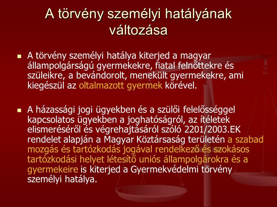 A törvény személyi hatályának változása   A törvény személyi hatálya kiterjed a magyar állampolgárságú gyermekekre, fiatal felnőttekre és szüleikre, a bevándorolt, menekült gyermekekre, ami kiegészül az oltalmazott gyermek körével.