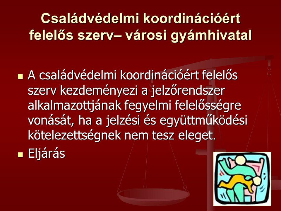  A családvédelmi koordinációért felelős szerv kezdeményezi a jelzőrendszer alkalmazottjának fegyelmi felelősségre vonását, ha a jelzési és együttműködési kötelezettségnek nem tesz eleget.