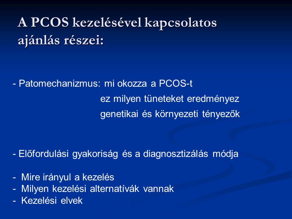 A PCOS kezelésével kapcsolatos ajánlás részei: - Patomechanizmus: mi okozza a PCOS-t ez milyen tüneteket eredményez genetikai és környezeti tényezők -