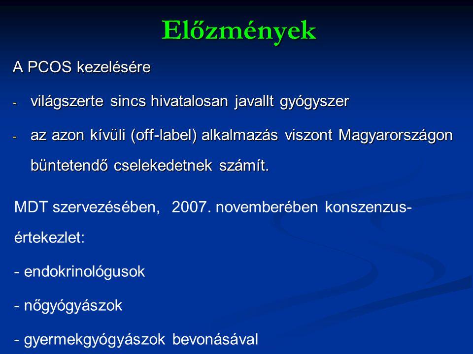 Előzmények A PCOS kezelésére - világszerte sincs hivatalosan javallt gyógyszer - az azon kívüli (off-label) alkalmazás viszont Magyarországon bünteten