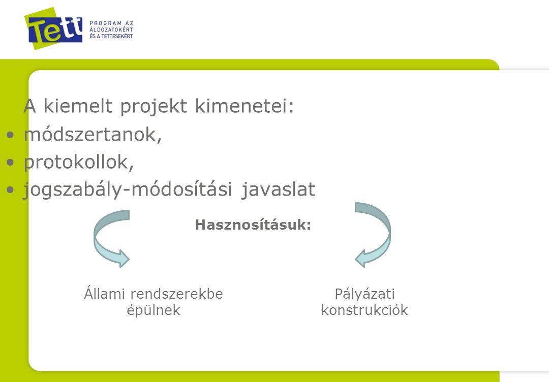 A kiemelt projekt kimenetei: •módszertanok, •protokollok, •jogszabály-módosítási javaslat Állami rendszerekbe épülnek Pályázati konstrukciók Hasznosításuk: