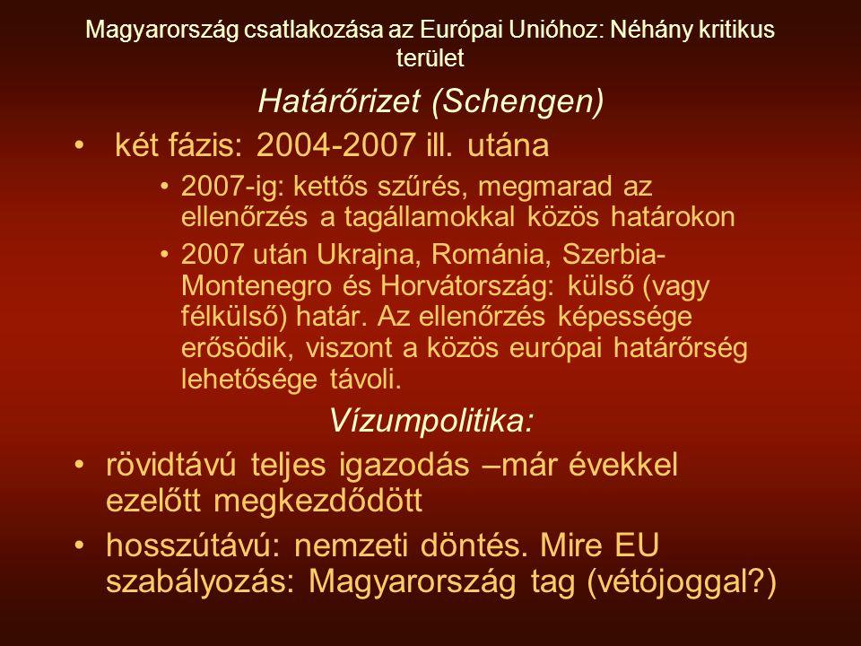 Magyarország csatlakozása az Európai Unióhoz: Néhány kritikus terület Határőrizet (Schengen) • két fázis: 2004-2007 ill.