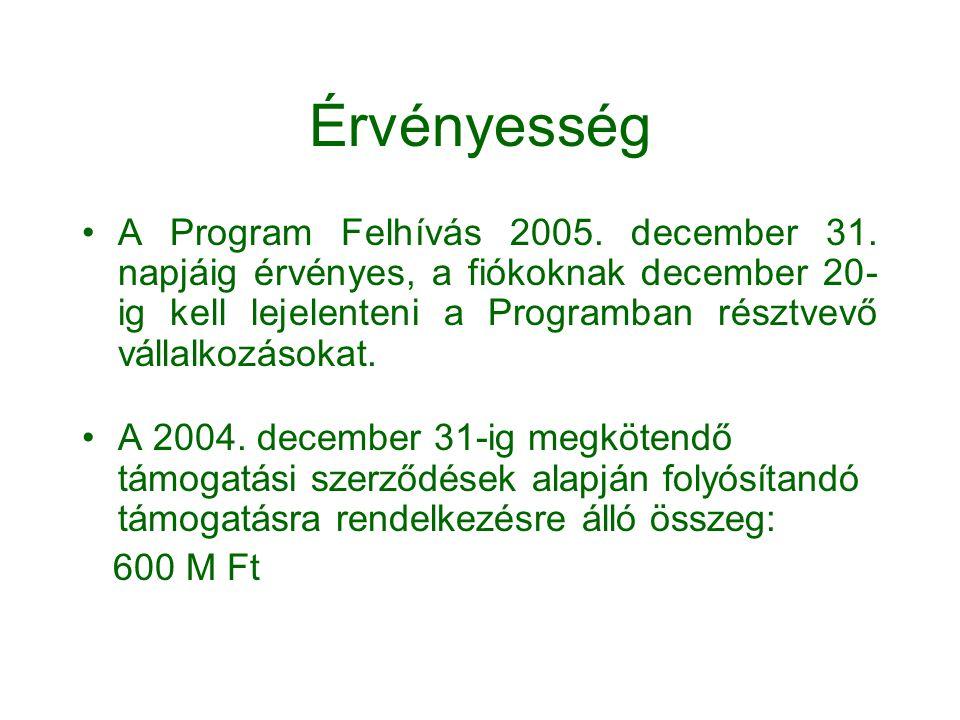 Érvényesség •A Program Felhívás 2005. december 31. napjáig érvényes, a fiókoknak december 20- ig kell lejelenteni a Programban résztvevő vállalkozások