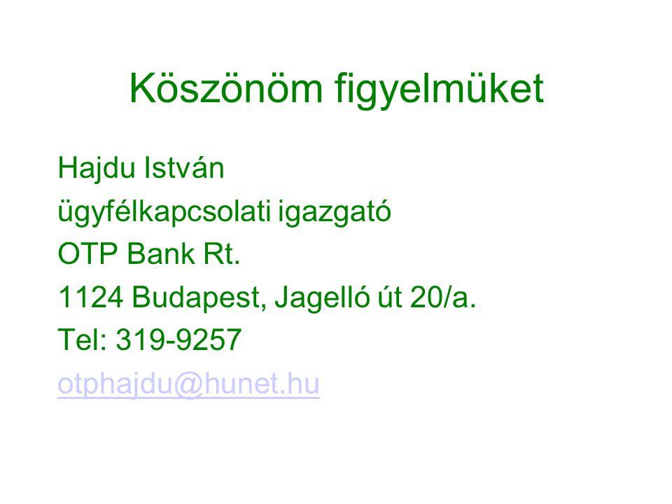 Köszönöm figyelmüket Hajdu István ügyfélkapcsolati igazgató OTP Bank Rt. 1124 Budapest, Jagelló út 20/a. Tel: 319-9257 otphajdu@hunet.hu