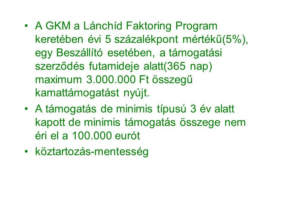 •A GKM a Lánchíd Faktoring Program keretében évi 5 százalékpont mértékű(5%), egy Beszállító esetében, a támogatási szerződés futamideje alatt(365 nap) maximum 3.000.000 Ft összegű kamattámogatást nyújt.