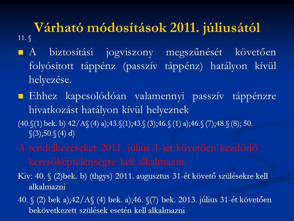 Várható módosítások 2011. júliusától 11. §   A biztosítási jogviszony megszűnését követően folyósított táppénz (passzív táppénz) hatályon kívül hely