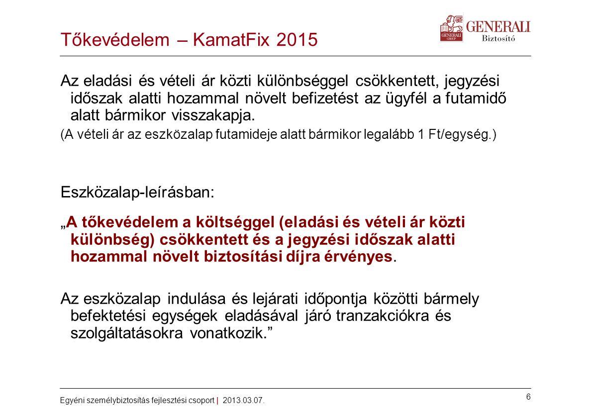 6 Egyéni személybiztosítás fejlesztési csoport | 2013.03.07. Tőkevédelem – KamatFix 2015 Az eladási és vételi ár közti különbséggel csökkentett, jegyz