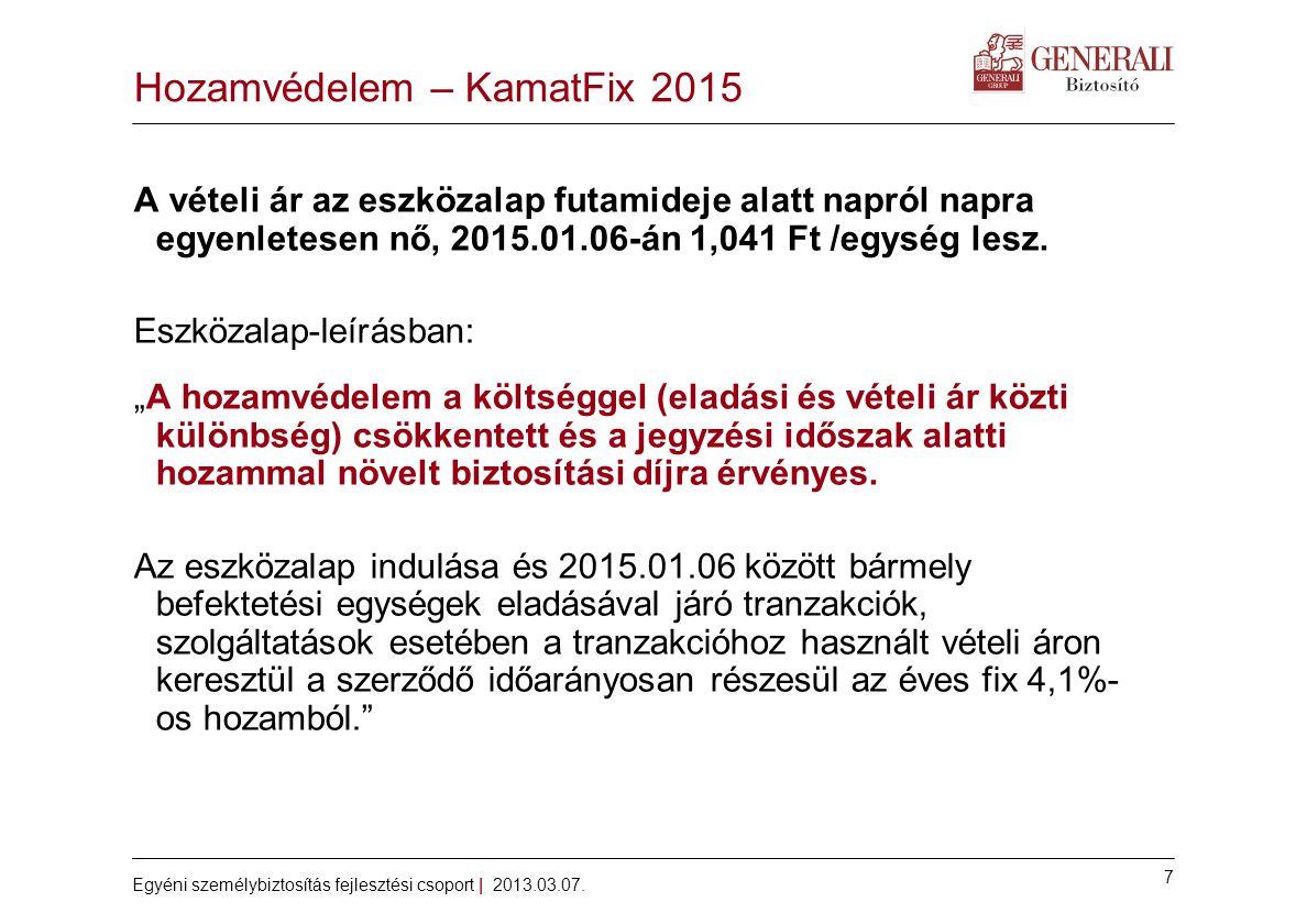 7 Egyéni személybiztosítás fejlesztési csoport | 2013.03.07. Hozamvédelem – KamatFix 2015 A vételi ár az eszközalap futamideje alatt napról napra egye