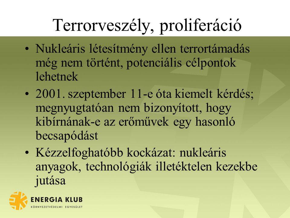 Terrorveszély, proliferáció •Nukleáris létesítmény ellen terrortámadás még nem történt, potenciális célpontok lehetnek •2001.