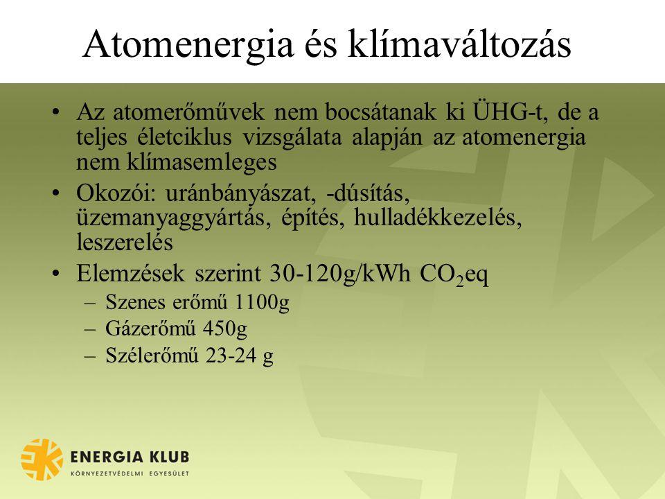Atomenergia és klímaváltozás •Az atomerőművek nem bocsátanak ki ÜHG-t, de a teljes életciklus vizsgálata alapján az atomenergia nem klímasemleges •Okozói: uránbányászat, -dúsítás, üzemanyaggyártás, építés, hulladékkezelés, leszerelés •Elemzések szerint 30-120g/kWh CO 2 eq –Szenes erőmű 1100g –Gázerőmű 450g –Szélerőmű 23-24 g