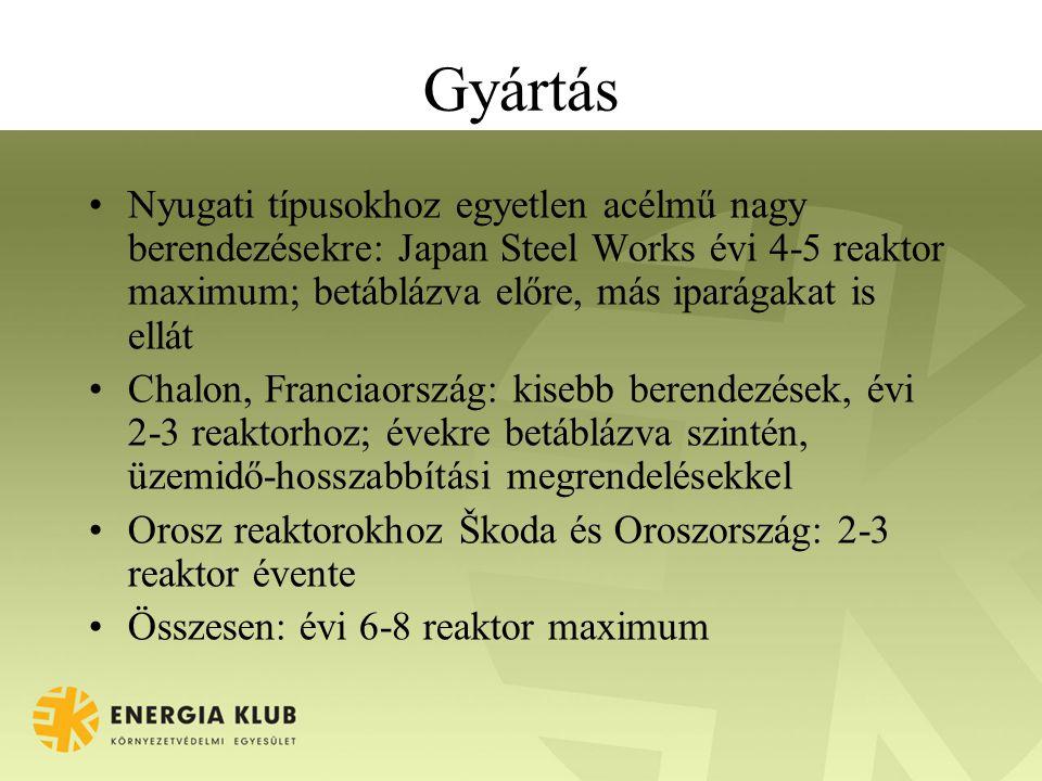 Gyártás •Nyugati típusokhoz egyetlen acélmű nagy berendezésekre: Japan Steel Works évi 4-5 reaktor maximum; betáblázva előre, más iparágakat is ellát •Chalon, Franciaország: kisebb berendezések, évi 2-3 reaktorhoz; évekre betáblázva szintén, üzemidő-hosszabbítási megrendelésekkel •Orosz reaktorokhoz Škoda és Oroszország: 2-3 reaktor évente •Összesen: évi 6-8 reaktor maximum