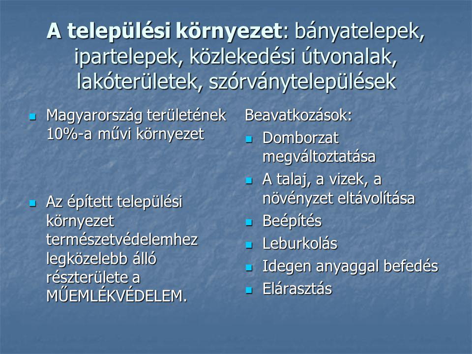 A települési környezet: bányatelepek, ipartelepek, közlekedési útvonalak, lakóterületek, szórványtelepülések  Magyarország területének 10%-a művi kör