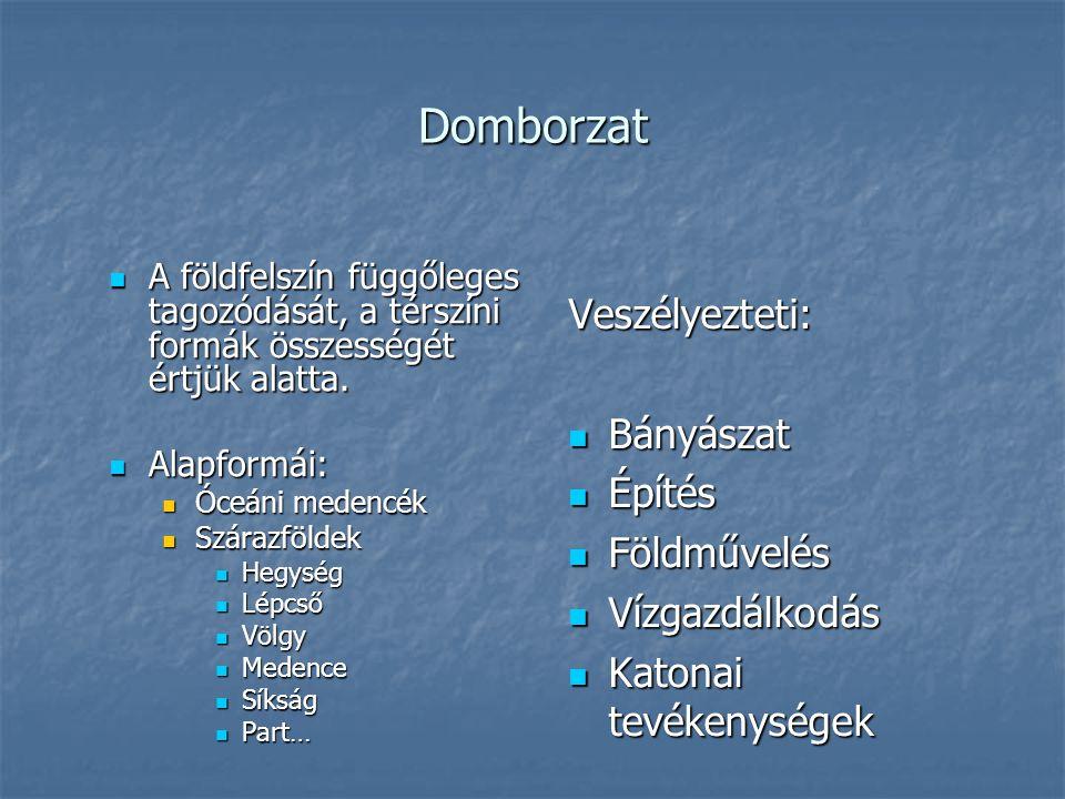 Domborzat  A földfelszín függőleges tagozódását, a térszíni formák összességét értjük alatta.  Alapformái:  Óceáni medencék  Szárazföldek  Hegysé