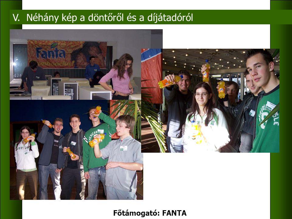 V. Néhány kép a döntőről és a díjátadóról Főtámogató: FANTA