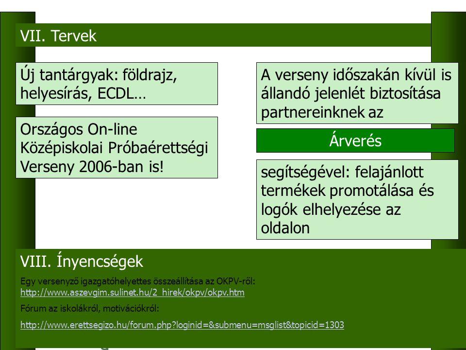 VII. Tervek Új tantárgyak: földrajz, helyesírás, ECDL… Országos On-line Középiskolai Próbaérettségi Verseny 2006-ban is! A verseny időszakán kívül is