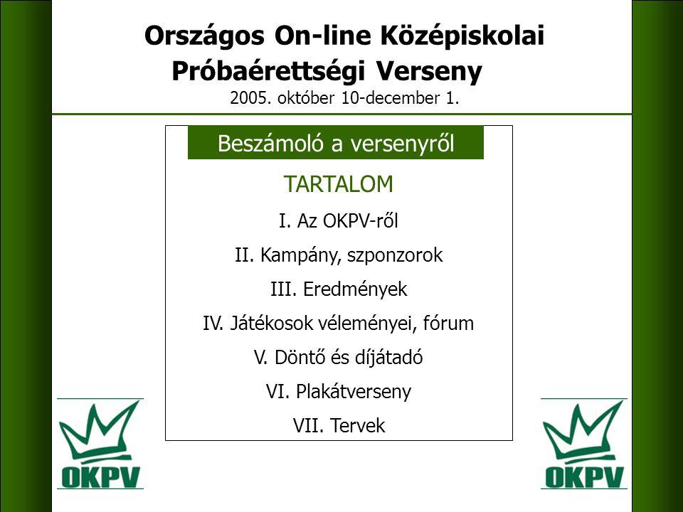 Országos On-line Középiskolai Próbaérettségi Verseny.hu 2005.