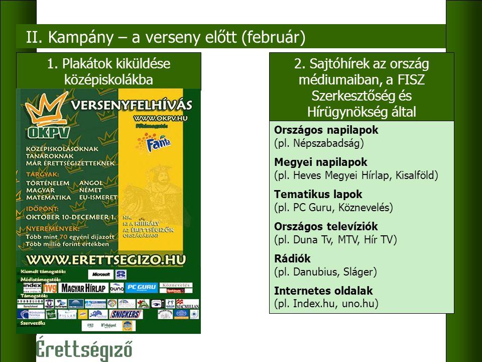 II. Kampány – a verseny előtt (február) 1. Plakátok kiküldése középiskolákba 2.