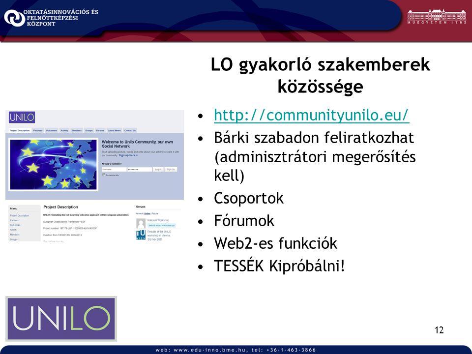 12 LO gyakorló szakemberek közössége •http://communityunilo.eu/http://communityunilo.eu/ •Bárki szabadon feliratkozhat (adminisztrátori megerősítés kell) •Csoportok •Fórumok •Web2-es funkciók •TESSÉK Kipróbálni!