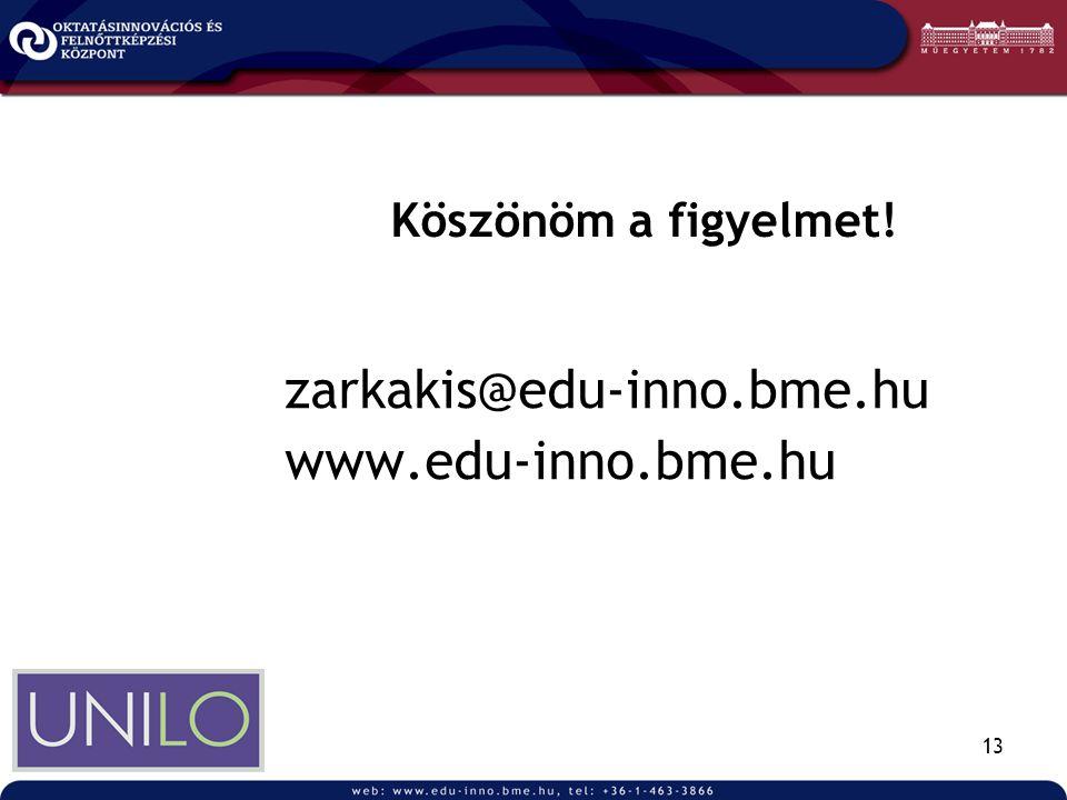 13 Köszönöm a figyelmet! zarkakis@edu-inno.bme.hu www.edu-inno.bme.hu