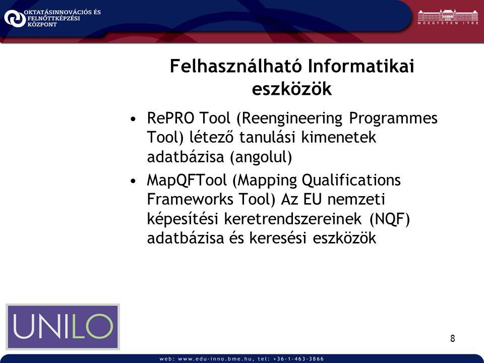 8 Felhasználható Informatikai eszközök •RePRO Tool (Reengineering Programmes Tool) létező tanulási kimenetek adatbázisa (angolul) •MapQFTool (Mapping Qualifications Frameworks Tool) Az EU nemzeti képesítési keretrendszereinek (NQF) adatbázisa és keresési eszközök