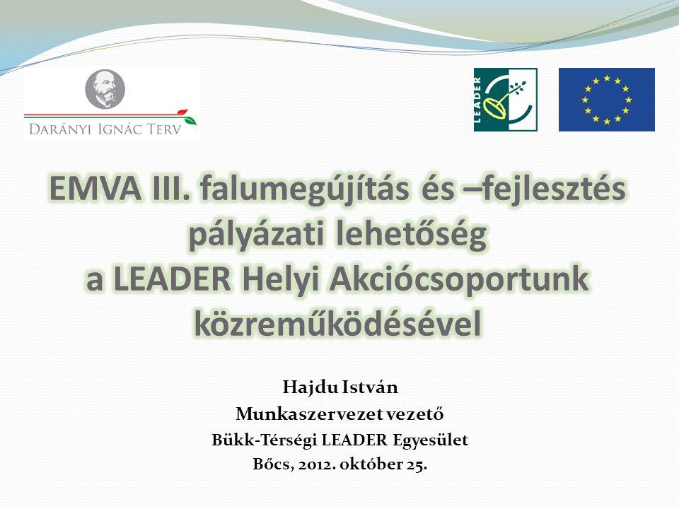 Hajdu István Munkaszervezet vezető Bükk-Térségi LEADER Egyesület Bőcs, 2012. október 25.