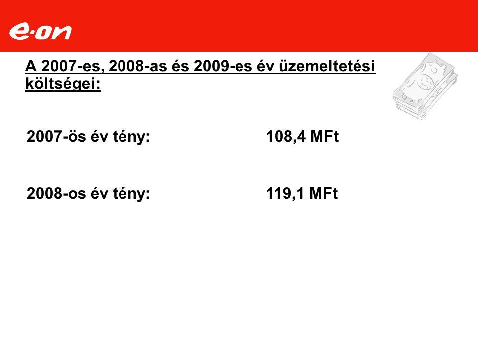 A 2007-es, 2008-as és 2009-es év üzemeltetési költségei: 2007-ös év tény:108,4 MFt 2008-os év tény:119,1 MFt