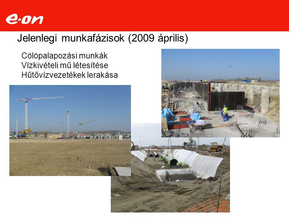 Jelenlegi munkafázisok (2009 április) Cölöpalapozási munkák Vízkivételi mű létesítése Hűtővízvezetékek lerakása
