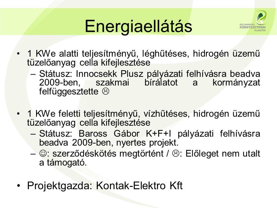 Energiaellátás •1 KWe alatti teljesítményű, léghűtéses, hidrogén üzemű tüzelőanyag cella kifejlesztése –Státusz: Innocsekk Plusz pályázati felhívásra