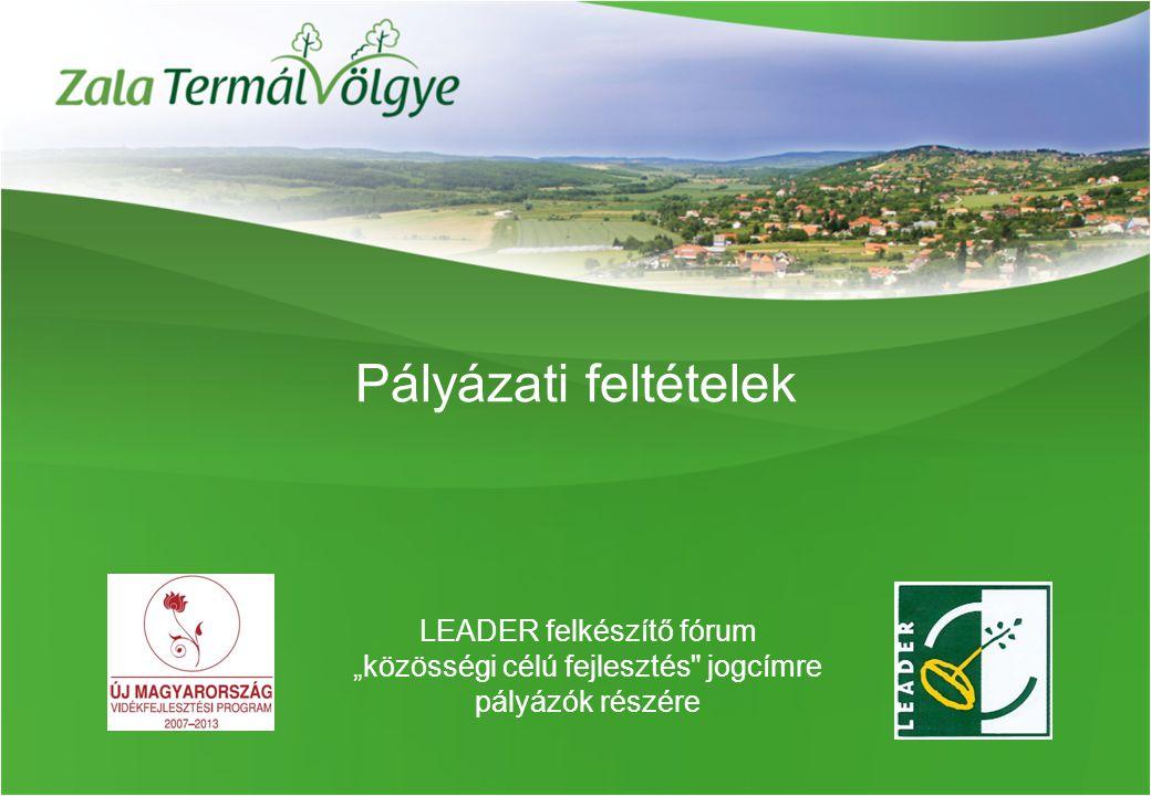 """Pályázati feltételek LEADER felkészítő fórum """"közösségi célú fejlesztés jogcímre pályázók részére"""