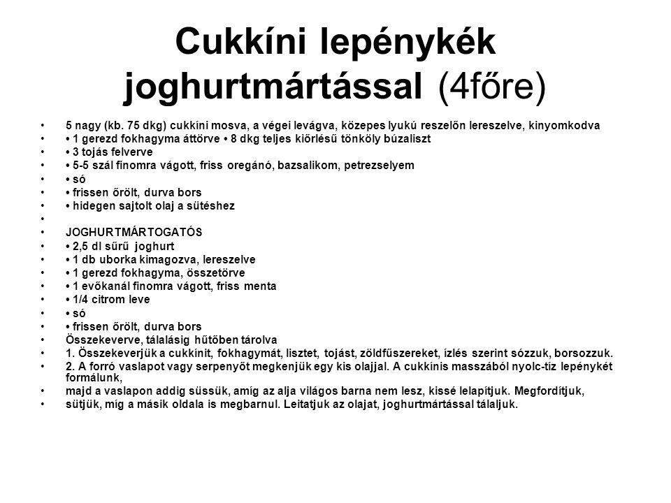 Cukkíni lepénykék joghurtmártással (4főre) •5 nagy (kb. 75 dkg) cukkíni mosva, a végei levágva, közepes lyukú reszelőn lereszelve, kinyomkodva •• 1 ge