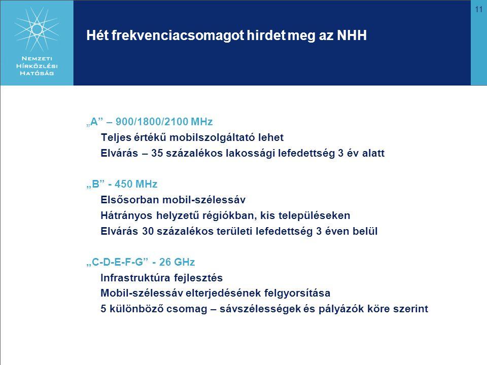 """11 Hét frekvenciacsomagot hirdet meg az NHH """" A – 900/1800/2100 MHz Teljes értékű mobilszolgáltató lehet Elvárás – 35 százalékos lakossági lefedettség 3 év alatt """"B - 450 MHz Elsősorban mobil-szélessáv Hátrányos helyzetű régiókban, kis településeken Elvárás 30 százalékos területi lefedettség 3 éven belül """"C-D-E-F-G - 26 GHz Infrastruktúra fejlesztés Mobil-szélessáv elterjedésének felgyorsítása 5 különböző csomag – sávszélességek és pályázók köre szerint"""