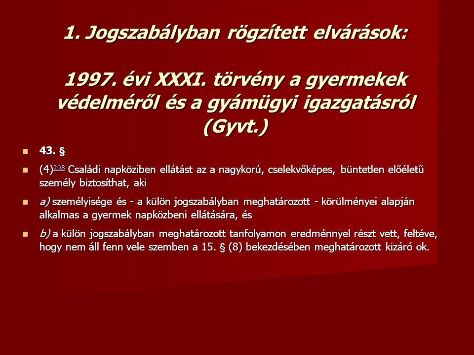 1. Jogszabályban rögzített elvárások: 1997. évi XXXI. törvény a gyermekek védelméről és a gyámügyi igazgatásról (Gyvt.)  43. §  (4) 208 Családi napk