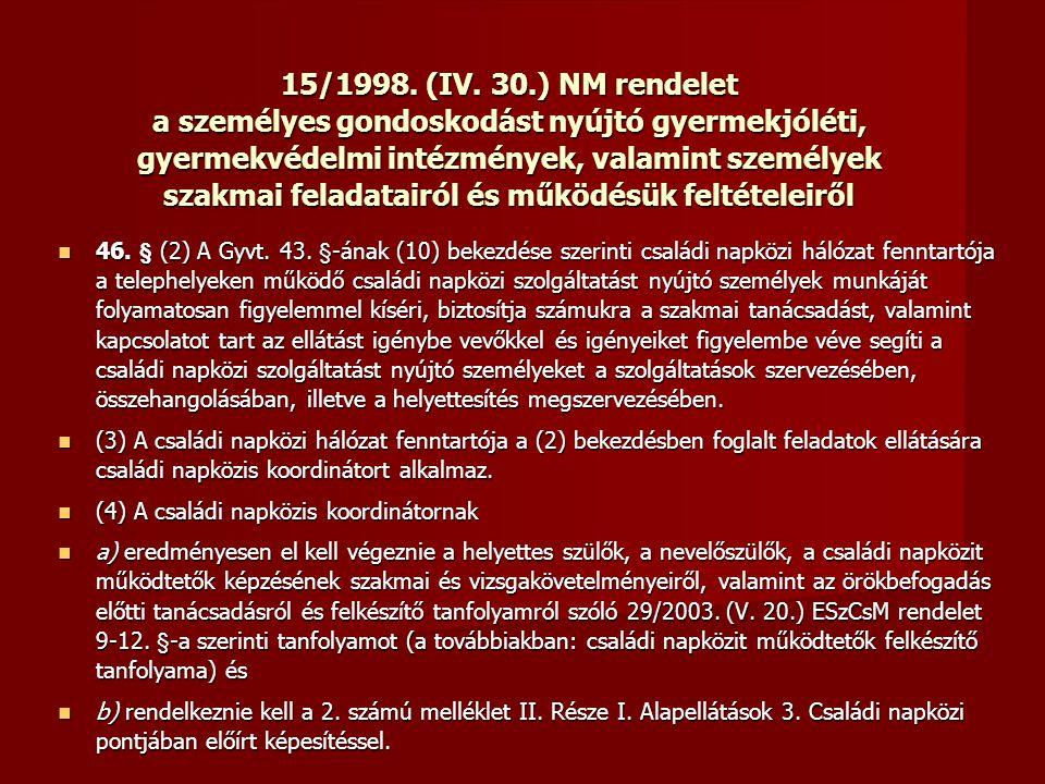 15/1998. (IV. 30.) NM rendelet a személyes gondoskodást nyújtó gyermekjóléti, gyermekvédelmi intézmények, valamint személyek szakmai feladatairól és m