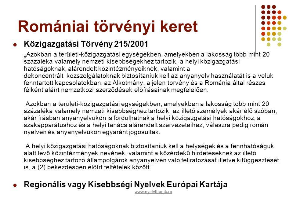 """Romániai törvényi keret  Közigazgatási Törvény 215/2001 """" Azokban a területi-közigazgatási egységekben, amelyekben a lakosság több mint 20 százaléka valamely nemzeti kisebbségekhez tartozik, a helyi közigazgatási hatóságoknak, alárendelt közintézményeiknek, valamint a dekoncentrált közszolgálatoknak biztosítaniuk kell az anyanyelv használatát is a velük fenntartott kapcsolatokban, az Alkotmány, a jelen törvény és a Románia által részes félként aláírt nemzetközi szerződések előírásainak megfelelően."""
