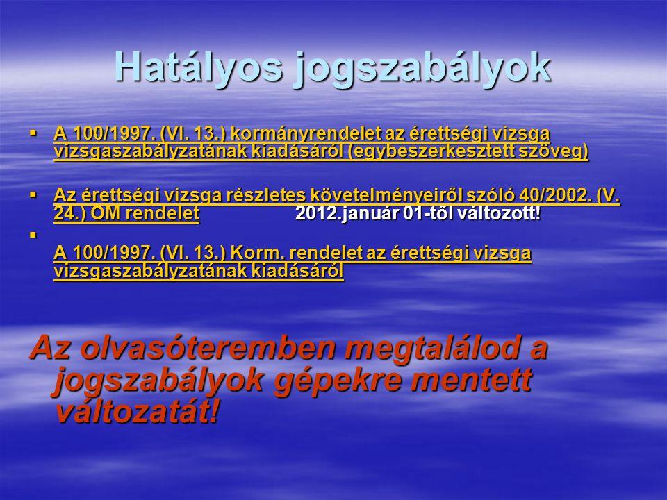 Hatályos jogszabályok  A 100/1997. (VI.