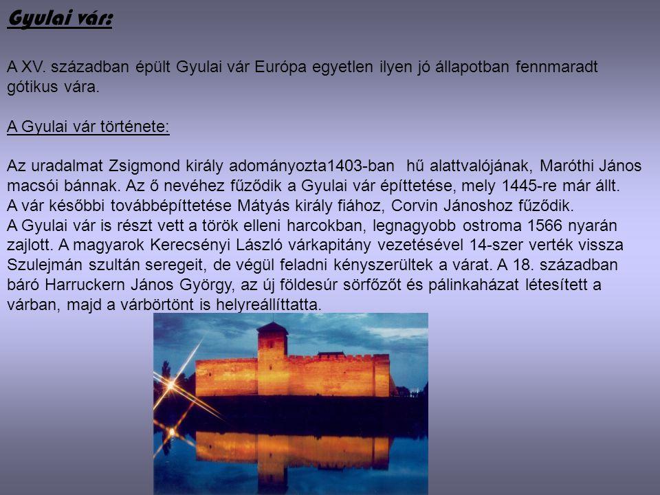 Gyulai vár: A XV. században épült Gyulai vár Európa egyetlen ilyen jó állapotban fennmaradt gótikus vára. A Gyulai vár története: Az uradalmat Zsigmon