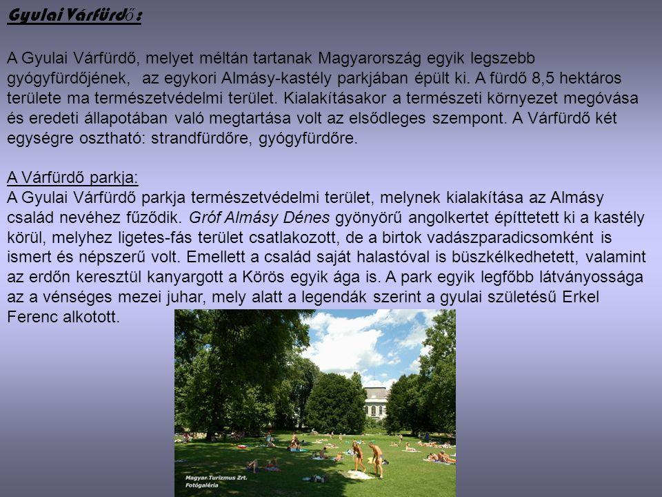 Gyulai Várfürd ő : A Gyulai Várfürdő, melyet méltán tartanak Magyarország egyik legszebb gyógyfürdőjének, az egykori Almásy-kastély parkjában épült ki