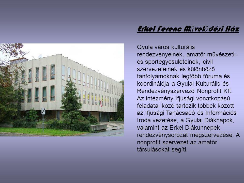 Erkel Ferenc M ű vel ő dési Ház Gyula város kulturális rendezvényeinek, amatőr művészeti- és sportegyesületeinek, civil szervezeteinek és különböző ta