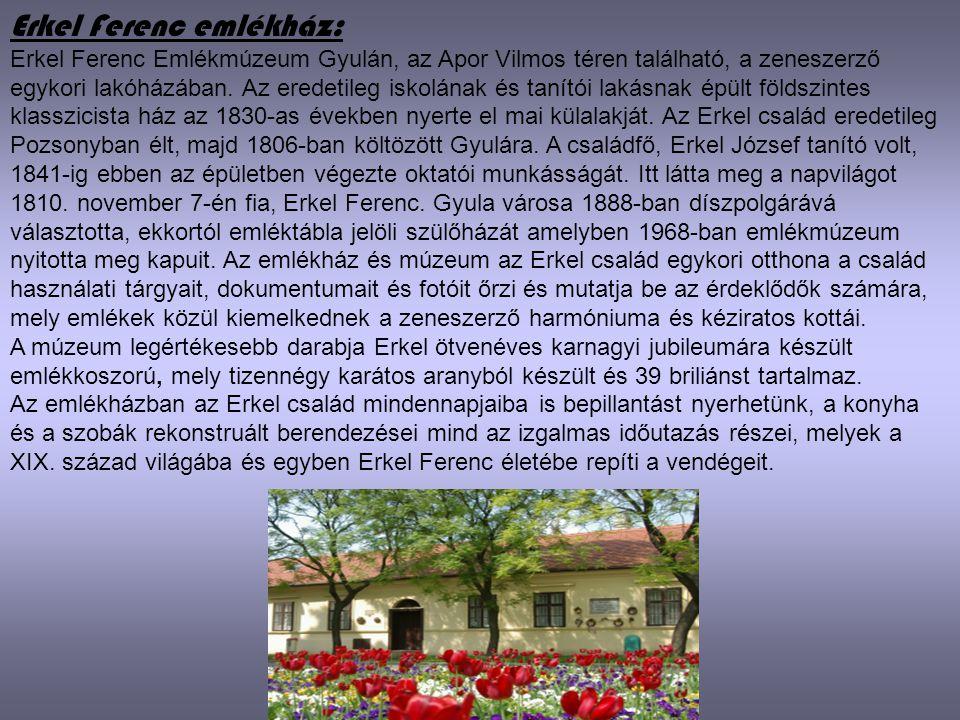 Erkel Ferenc emlékház: Erkel Ferenc Emlékmúzeum Gyulán, az Apor Vilmos téren található, a zeneszerző egykori lakóházában. Az eredetileg iskolának és t