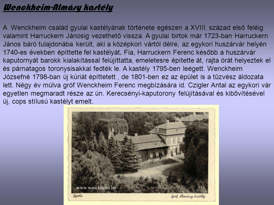 Wenckheim-Almásy kastély A Wenckheim család gyulai kastélyának története egészen a XVIII. század első feléig valamint Harruckern Jánosig vezethető vis