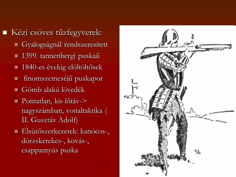  Kézi csöves tűzfegyverek:  Gyalogságnál rendszeresített  1399.