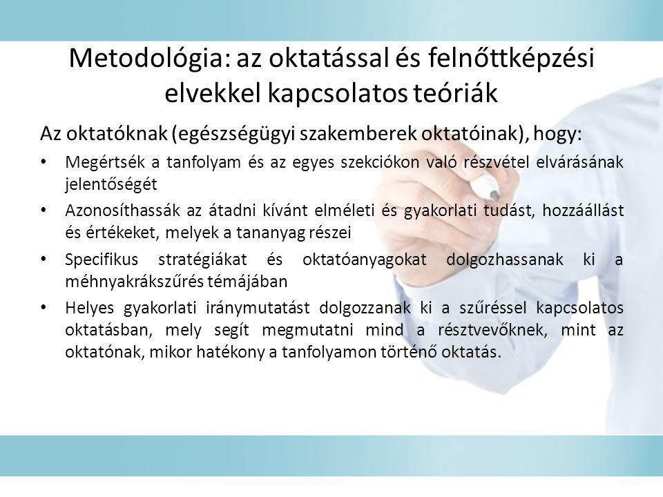 Metodológia: az oktatással és felnőttképzési elvekkel kapcsolatos teóriák Az oktatóknak (egészségügyi szakemberek oktatóinak), hogy: • Megértsék a tan