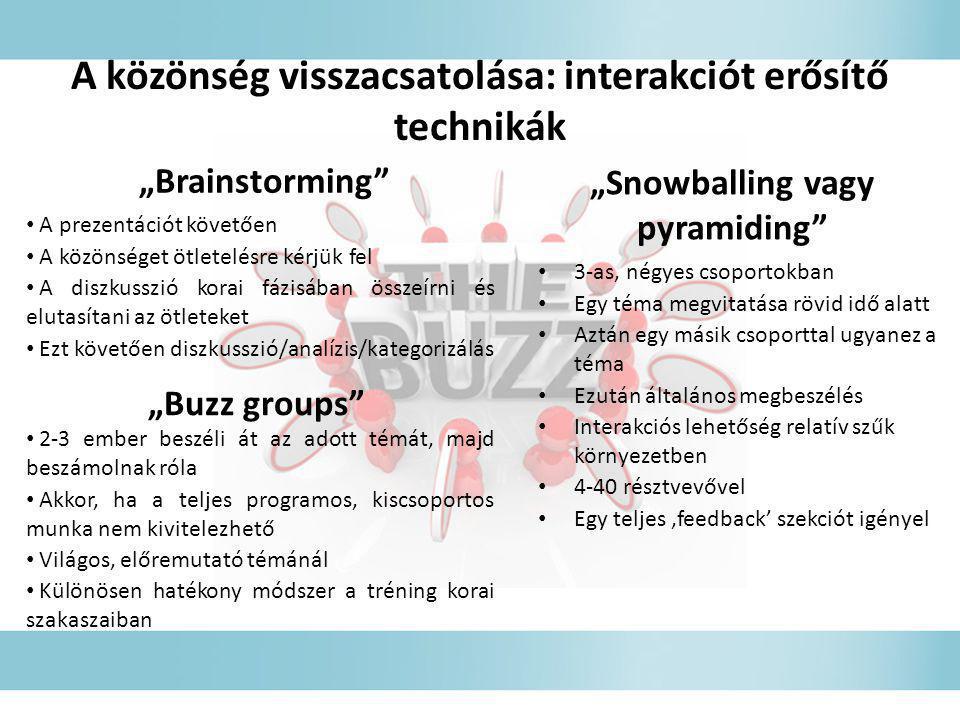 """""""Brainstorming"""" • A prezentációt követően • A közönséget ötletelésre kérjük fel • A diszkusszió korai fázisában összeírni és elutasítani az ötleteket"""