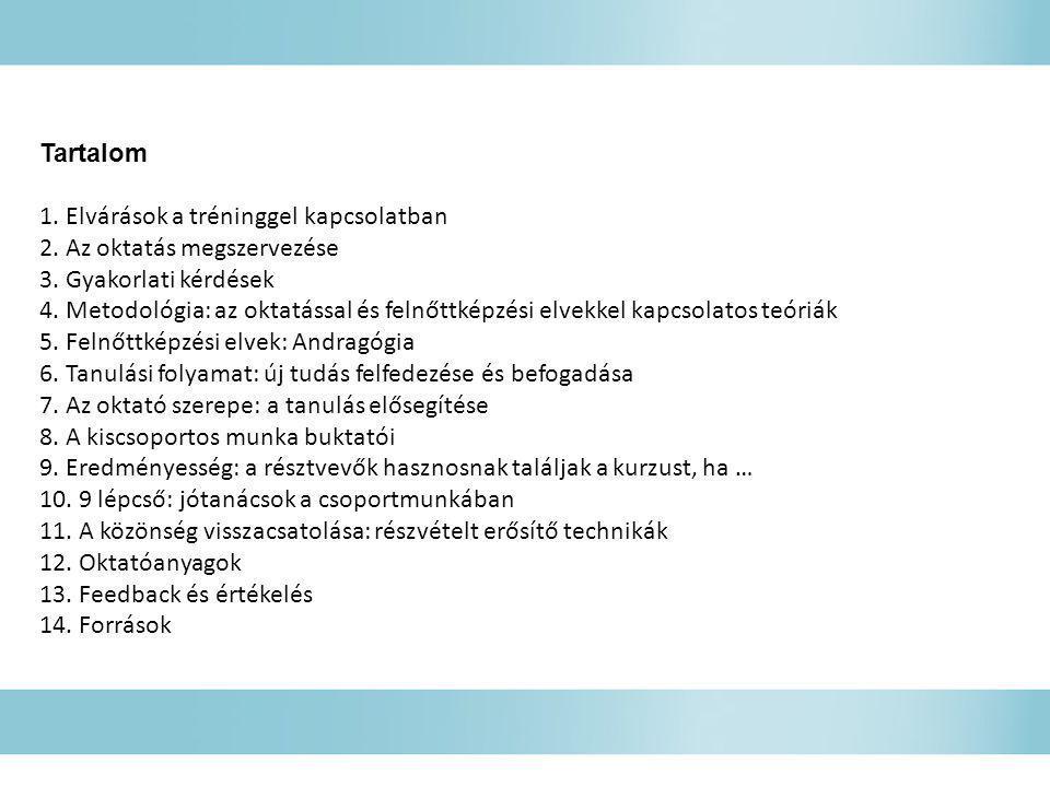 Tartalom 1. Elvárások a tréninggel kapcsolatban 2. Az oktatás megszervezése 3. Gyakorlati kérdések 4. Metodológia: az oktatással és felnőttképzési elv